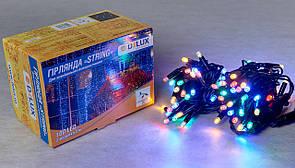 Уличная LED гирлянда разнацветная DELUX STRING 100LED 10m 20flash мульт/черная IP44 EN