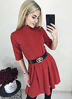 Женское стильное красное мини платье с поясом в комплекте Ткань трикотаж француз, фото 1