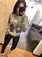 Красивый женский вязаный свитер с птичками, светло серый. Турция., фото 1