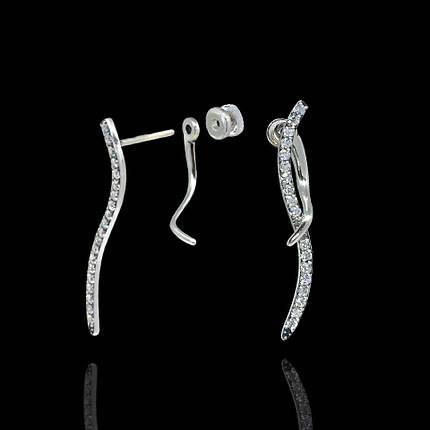 Серебряные серьги-пуссеты с камнями Петля, фото 2