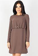 Платье прямого силуэта кофейного цвета, платье свободного кроя, платье большого размера нарядное красивое  , фото 1