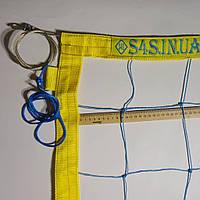 Сетка для волейбола «ПРЕМИУМ 15 НОРМА» с тросом сине-желтая, фото 1
