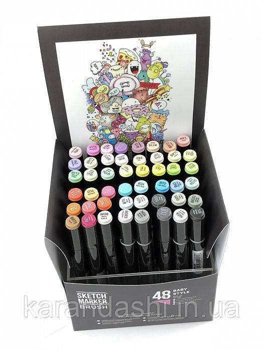 Набор маркеров SKETCHMARKER BRUSH 48 Baby style - Нежные тона (48 маркеров в пластиковом кейсе)