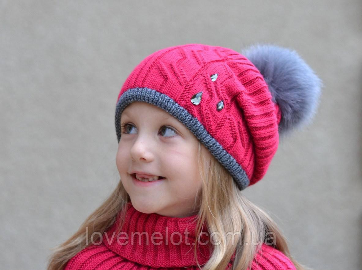 """Детская теплая зимняя шапка на флисе, шапочка с песцовым помпоном """"Капелька"""" для девочки, размер 8-12 лет"""