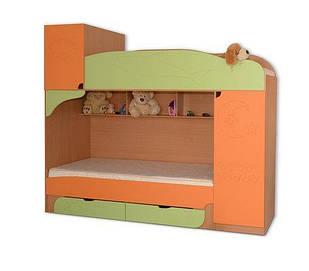 Ліжко дитяче 80*190 з ДСП/МДФ двохярусне з двома шухлядками Вінні Летро