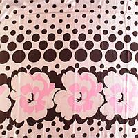 Стрейч атлас с вышивкой с коричнево розовым абстрактным рисунком