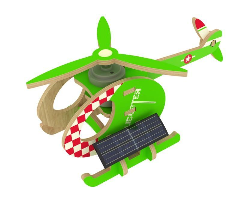 Конструктор из дерева Robotime Вертолет-A с красочным покрытием 13 деталей