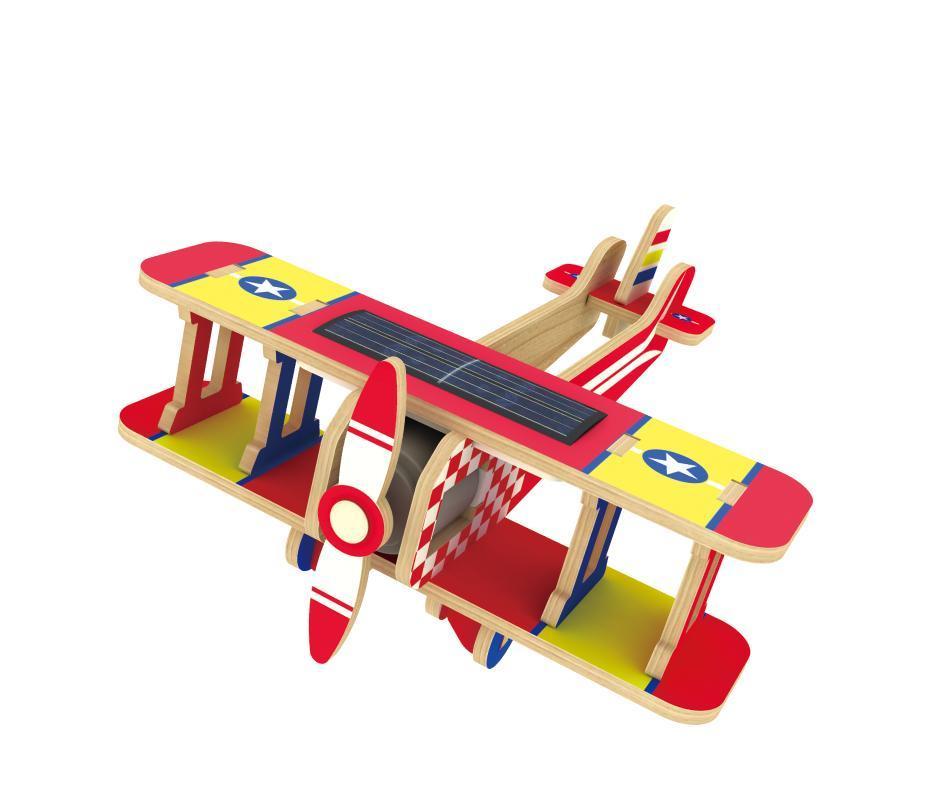 Конструктор деревянный Robotime Биплан с красочным покрытием 17 деталей