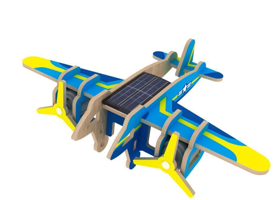 Деревянный конструктор Robotime Бомбардировщик с красочным покрытием 14 деталей