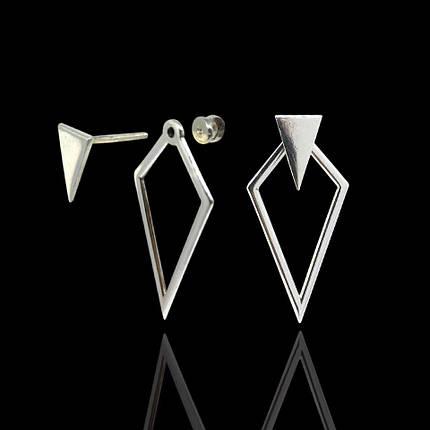 Серебряные серьги-пуссеты ромб с треугольником, фото 2