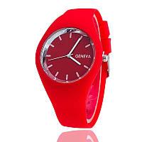 Часы женские Женева Geneva силиконовые красные