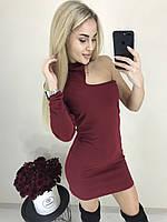Женское стильное мини платье на одно плечо. Ткань. Креп-дайвинг, 4 цвета, фото 1