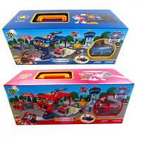 Детский игровой набор гараж в чемодане Парковка Щенячий патруль XZ-858