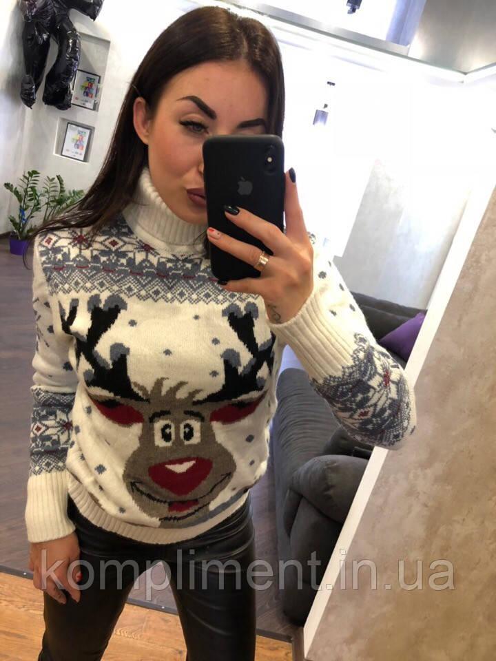 Женский шерстяной вязаный свитер с веселым оленем ,белый. Турция.