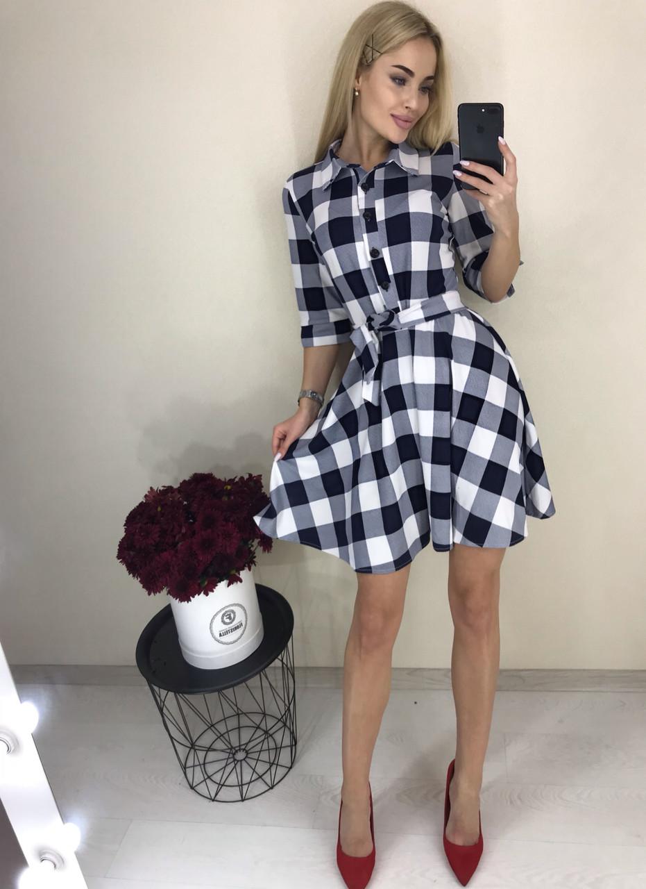 Женское стильное повседневное платье в клетку ( трикотаж) 2 цвета