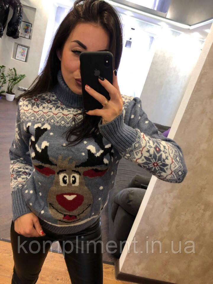 Жіночий в'язаний шерстяний светр з веселим оленем ,блакитний. Туреччина.