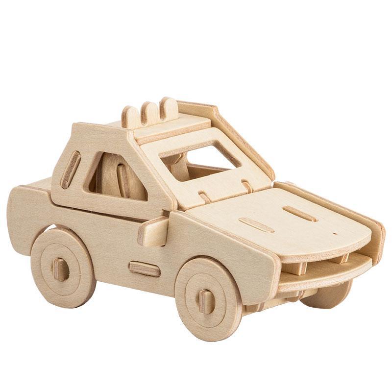 Деревянный конструктор Robotime Полицейский автомобиль 21 деталь