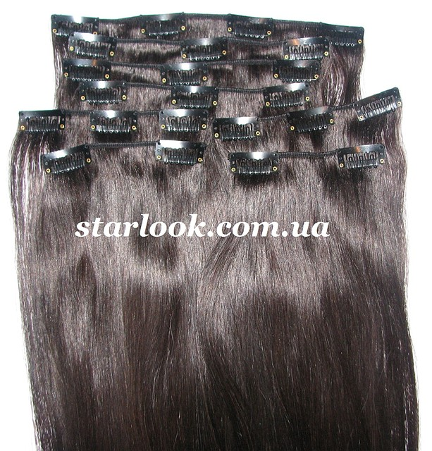 Набор натуральных волос на клипсах 52 см. Оттенок №1b. Масса: 130 грамм.
