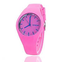 Часы женские Женева Geneva силиконовые розовые