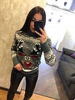 Женский шерстяной вязаный свитер с веселым оленем ,серый. Турция., фото 1