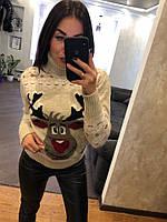 Женский шерстяной вязаный свитер с веселым оленем ,бежевый. Турция., фото 1