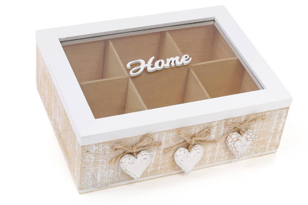 Коробка для чая деревянная (6 отделений) со стеклянной крышкой Home BonaDi 493-704