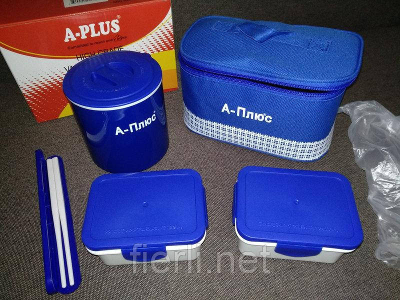 Ланчбокс (3 в 1) A-PLUS 1670 термос пищевой (с сумкой)  500 мл + палочки