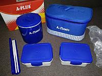 Ланчбокс (3 в 1) A-PLUS 1670 термос пищевой (с сумкой)  500 мл + палочки, фото 1