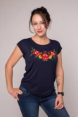 Класична футболка Петриківський розпис на темно-синьому – невишитий рукав