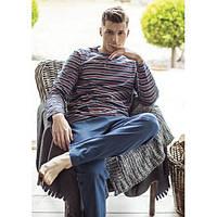Пижама KEY MNS-305 B8, 100 % хлопок, Польша мужские пижамы, пижама,  XL; , XL темно синий, темно синий