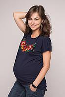 Подовжена футболка Петриківський розпис на темно-синьому – невишитий рукав 6ac4b16903525