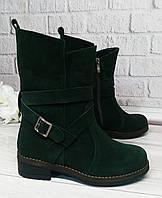 Зеленые замшевые женские ботинки, фото 1