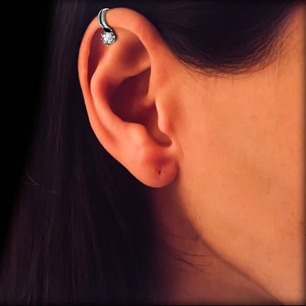 Серебряные женская серьга-клипса с камнем, фото 2