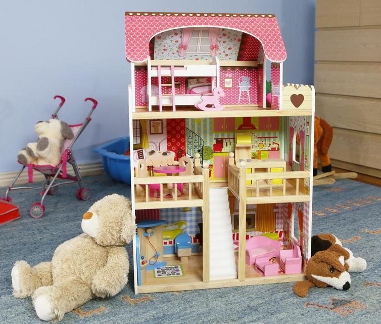 Игровой кукольный домик 4109 3 этажа + 2 куклы для детей