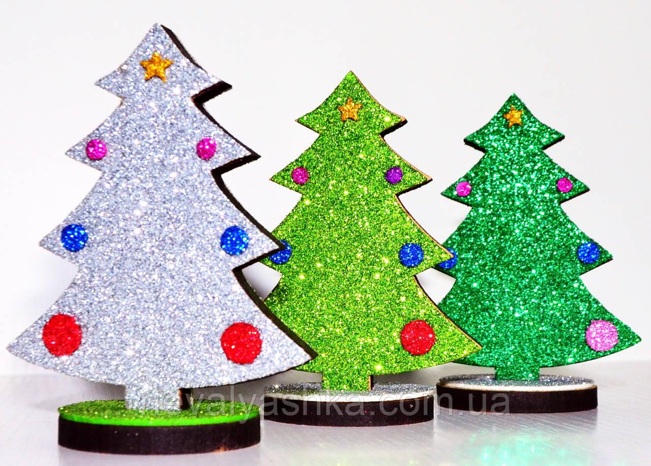 Новогодняя Ёлка Деревянная Сувенир елка елочка украшение на подстаке блестящая с блестками глиттер, 009880