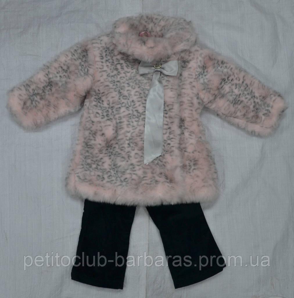 Зимний комплект: шуба, блузка и брюки для девочек Gloria розовая (PETİTO Club, Турция)