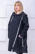 Женское оригинальное пальто Букле косая молния (64-70)