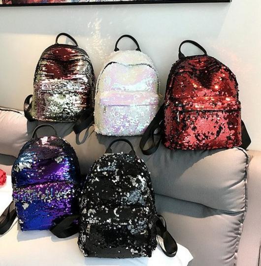 Женские рюкзачки с пайетками