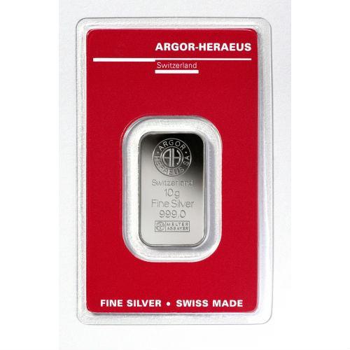Слиток серебра 10 грамм Argor-Heraeus