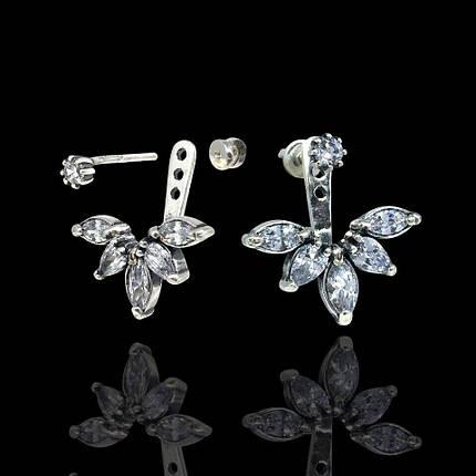 Серебряные серьги-пуссеты с камнями, фото 2