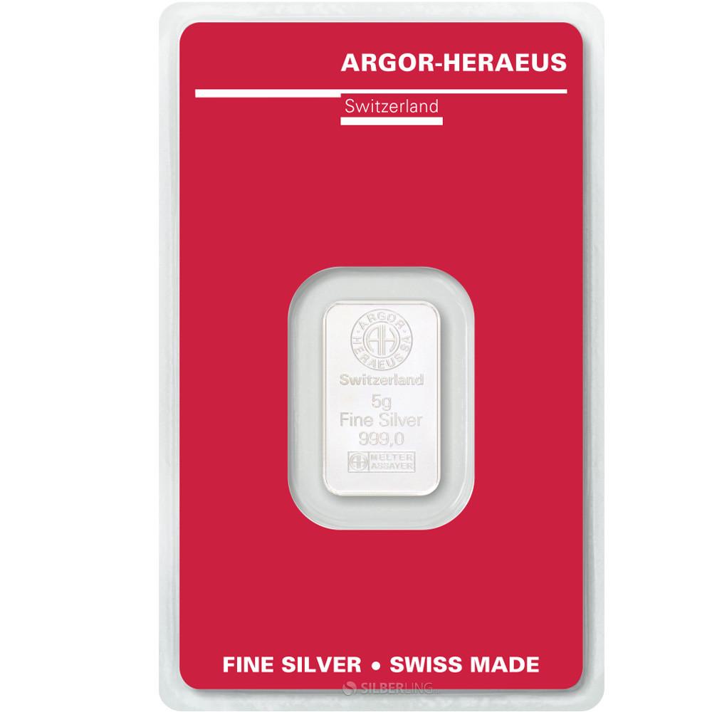 Слиток серебра 5 грамм Argor-Heraeus