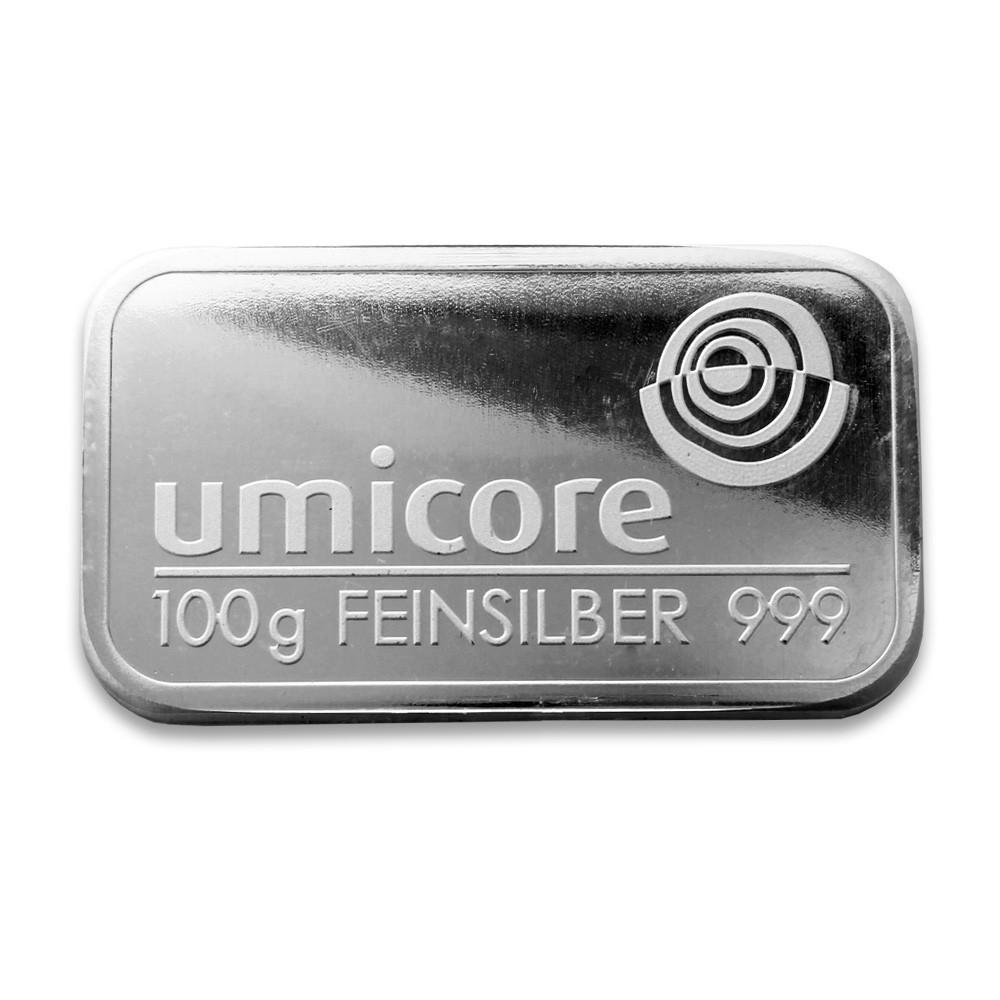 Слиток серебра 100 грамм Umicore