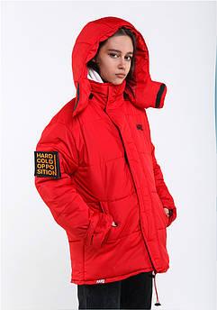 Зимняя куртка красная Размер S Зимова куртка HARD Oversize – червона