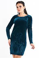 Бархатное платье прилегающего силуэта бутылочного цвета, платье красивое молодежное, платье нарядное эффектное, фото 1