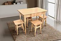 Стіл кухонний обідній з дерева +4 табурети Бук Мікс Меблі
