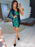 Шикарное женское вечернее платье-футляр (двухсторонние пайетки, один длинный рукав, асимметрия) РАЗНЫЕ ЦВЕТА!, фото 1