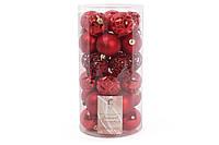 Набор елочных шаров 6см, цвет - красный, 30 шт: 10 шт - глянец с рельефом, 10 шт - матовый с рисунком из глитера, 5 шт - ажур с глитером, 5 шт -