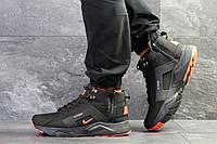 Мужские зимние кроссовки на меху в стиле Nike Huarache, черные. Код товара Д -6775