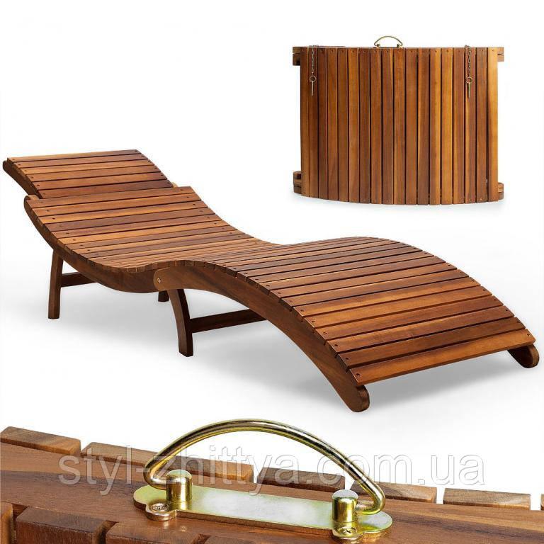 Розкладний шезлонг, лежак дерев'яний