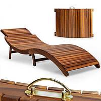 Розкладний шезлонг, лежак дерев'яний, фото 1